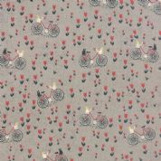 Moda Mon Ami by BasicGrey - 4297 - Bicyclette, Bicycles Cats and Tulips on Taupe - 30413 19 - Cotton Fabric